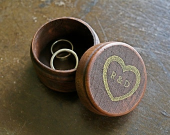 Personalized wedding ring box.  Rustic wooden ring box, ring bearer accessory, ring warming.  Small round ring box with custom initials.