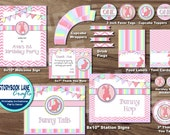 Bunny Party Package -  Rabbit Party Package - 1st Birthday Printable Party Package- Pink Chevron Stripe - Turning One Easter Pastel Pack