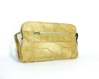 Large Vegan Leather Wallet - Camel Evening Clutch - 1970s Wristlet Wallet