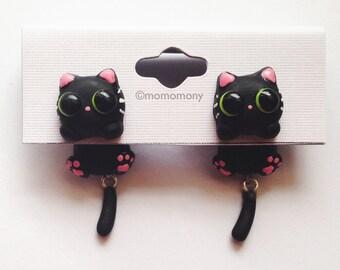 Cute Black Cat Clinging Earrings