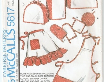 Vintage 1977 McCall's Pattern 5617 Aprons, Appliance Covers, Size Small