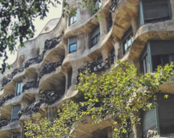Barcelona photo, Architecture, Gaudi, Buildings, Spain, Spanish, Travel photography, 8x12, Residence, wall decor, Christmas