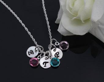 Personalized initials and birthstones, Sterling Silver personalized birthstone jewelry, initial disc birthstone jewelry