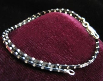Black Silver Bracelet Sterling Vintage  925 Links Box Chain Link Chains Italy Spotted