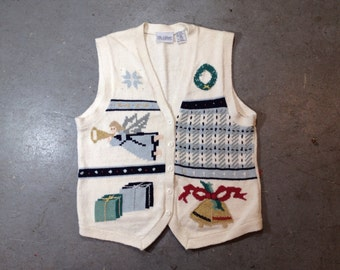 vintage 1980s ugly Christmas sweater vest. tacky retro xmas holiday jumper.