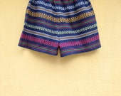 BIG SALE- Vintage Aztec / tribal blue shorts