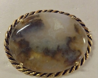 Graveyard Plume Agate with a little Druzy in Antiqued Gold Brooch