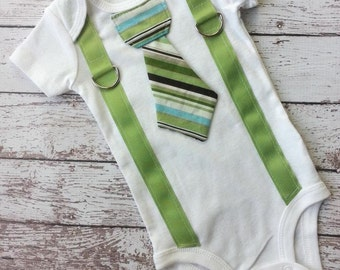 Baby Boy tie one piece bodysuit with suspenders, stripes, green, blue, brown, photo prop, baby boy fashion, formal wear, Birthday Shirt