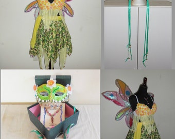 """OOAK Fairy costume """"MAE the Spring Fairy"""" w/ wings fae fairies faery cosplay dress horns mask necklace faeries Small/medium  magical"""