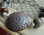 River Pebbles bracelet- fiber jewlery. water blues. pebble browns. enamel pendant. ceramic. boho silk knotted bracelet.  jettabugjewelry