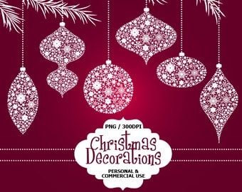 70% OFF SALE 24 Digital Ornate Christmas Decorations Clip Art Christmas, Decorations, Commercial and Personal use, Instant downloa