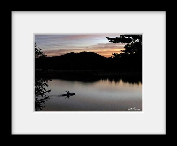 Kayaker at sunrise, PRINT Fine Photo Room Decor with quotes, Artwork Mirror Lake  Placid, Wall, Kayak, Rural, gift for boyfriend him men dad