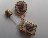 Antique Double Austrian Petit Point Floral Design Glass Perfume Bottle with Dauber Gold Gilt Filigree Dangle Pin Brooch In Original Box