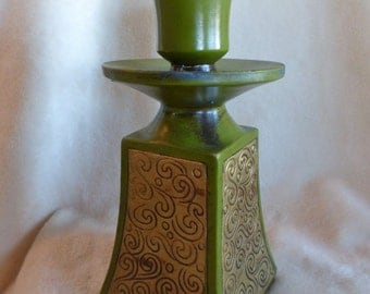 Vintage olive green and gold painted greemware candleholder made in Japan