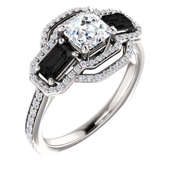Diamond and Black yx Engagement Ring Halo with Pave by JPoliseno