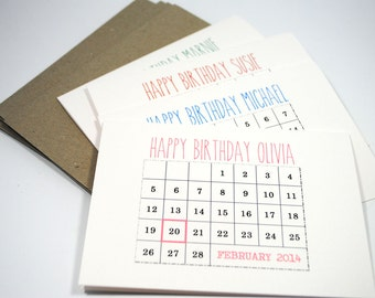 Personalised Birthday Card - Calendar - Pick a Colour, Add Name and Date