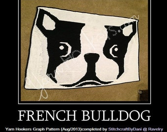 French Bulldog - Afghan Crochet Graph Pattern Chart - Instant Download