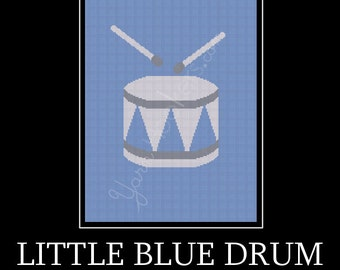 Little Blue Drum - Afghan Crochet Graph Pattern Chart - Instant Download