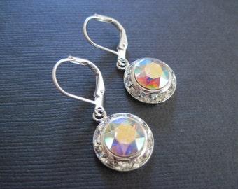 Swarovski Crystal AB Earrings /Bridesmaid Earrings/Bridesmaid Jewelry/ AB Crystal Earrings/Wedding Jewelry/Swarovvski Earrings