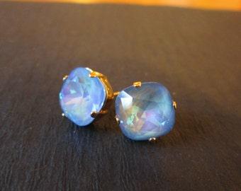 Ultra Blue Swarovski Studs/ Blue Swarovski Earrings/ Blue Crystal Earrings/ Crystal Stud Earrings/Square Crystal Studs/Statement Earrings