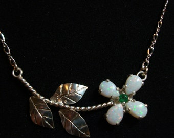 Opal Flower Necklace. Australian Opal and Emerald, Sterling Silver Necklace.