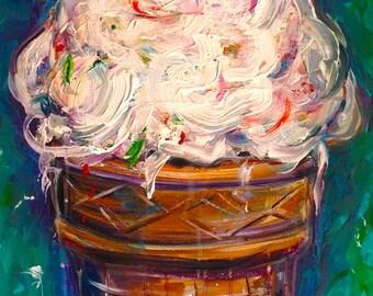 "Original Art Acrylic Painting for Sale ""Soft Serve"" 16x20"