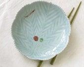 Vintage Japanese Serving Plate Pinecone Celadon Appetizer Sushi Sashimi