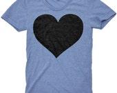Black Heart T Shirt - American Apparel Tri-Blend Vintage Fashion - Graphic Tees for Men & Women