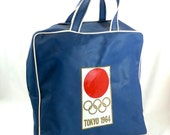 Go for the Gold: Vintage '64 Tokyo Olympics souvenir bag - red white and blue zippered carry on