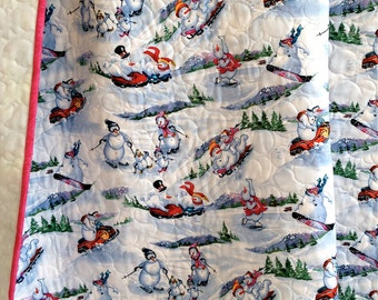 Baby Girl Quilt featuring Winter Olympics Snowmen Snowboarding Skiing Skating Snowmobiling Tubing Sledding Blue Baby Quilt