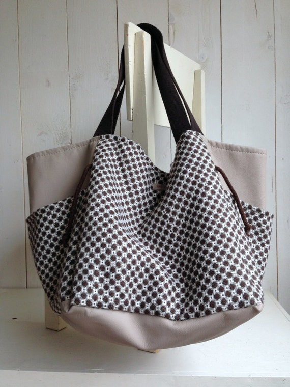 Stoffen Tas Beschilderen : Grote stoffen tas met kunstleer weekendtas handtas