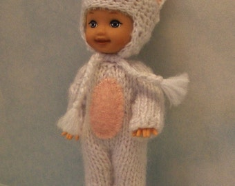 White Bunny Suit/Onesie For Fashion Dolls