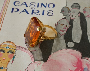 Faux Topaz Emerald Cut Ring 1940s Vintage