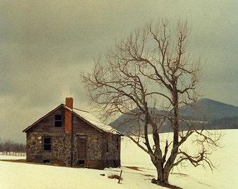 Misty Rock House 2 -- Fine Art  Photography Print -- Photo, Home Decor, Landscape, Winter, Snow, Art