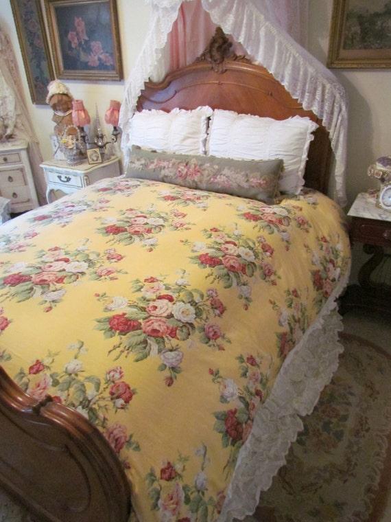 ralph lauren yellow cottage rose kathleen full  queen duvet