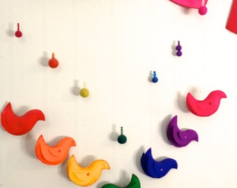 Steiner Waldorf inspired felt rainbow birds mobile, hanging, decoration, home decor, nursery.