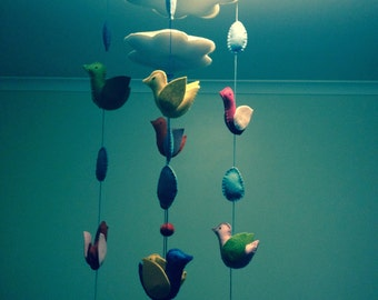 Steiner/Waldorf inspired Cloud and bird felt mobile. Hand made. Custom made to match your decor.