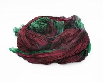 burgundy silk scarf -  La Reine Margot - Queen Margot -  burgundy, green silk scarf.