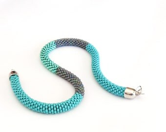 Turquoise&Grey Necklace/Colorblock necklace/Turquoise Tubular Necklace/Beaded Rope necklace/Crocheted Necklace/Virtù n.5