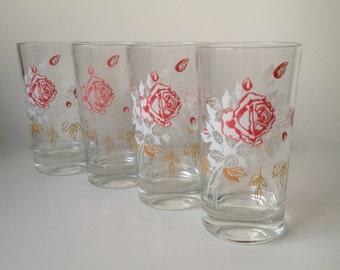 Set of Four Vintage Rose Floral Glasses