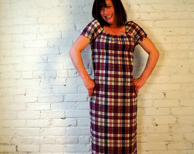 Madras Plaid Day Dress 60s Cotton Peasant Dress Small Size 0- 2- 4 Blue White Yellow Red Plaid Cap Sleeve Vintage Dead Stock by Young Timers