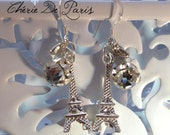 Paris Eiffel Tower, Solitaire CZ  Dangles, French Charms -  Sterling Silver Earrings