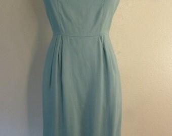 1950s Turquoise blue Silk Rayon Wiggle dress
