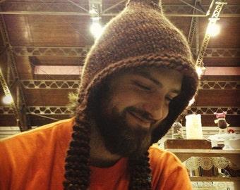 Hand Knitted Pixie Hat, Mens hat, Unisex Warm Winter Hat, Ski Hat, Elf Hat,Hippie Hat, Snowboarding, Hippie Hat, Dreadlocks, Christmas