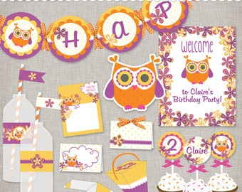 Owl Birthday and All Occassion Printable Party - PDF files for the DIY Hostess