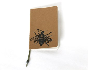 Bee Mini Notebook Pocket Journal Eco Friendly Recycled Notebook Sketchbook