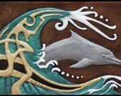 Dream of the Dolphin  - Cast Paper - Water - Porpoise - Wall art - Marine life