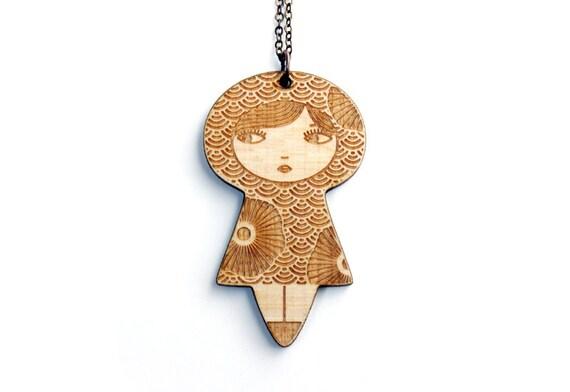 Doll necklace - seikaiha pattern with flowers - matriochka pendant - kokeshi jewelry - graphic - Japanese - lasercut maple wood