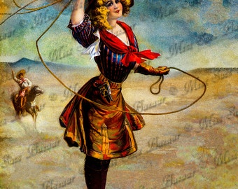 Instant Download or Print - Cowgirl with Lasso (C8)