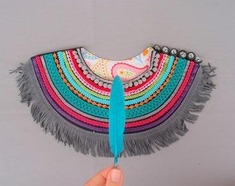 Ethnic Necklace with grey leather fringe  Ethnic Indian Necklace Rainbow Collar Leather Fringe Necklace Tribal Necklace Indian Necklace